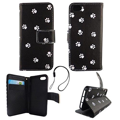 König-Shop Wallet Case Kunstlederhülle für Apple iPhone 5 / 5s / SE - Cover Flip Tasche in Hundepfoten Design mit Kartenfach und Ständerfunktion