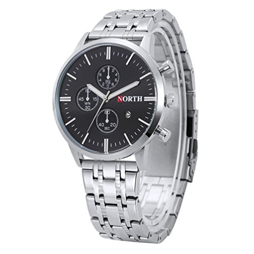 Price comparison product image Howstar Male Watch Life Waterproof Calendar Quartz Wrist Watch Stainless Steel Bracelet Men Watches (Black)