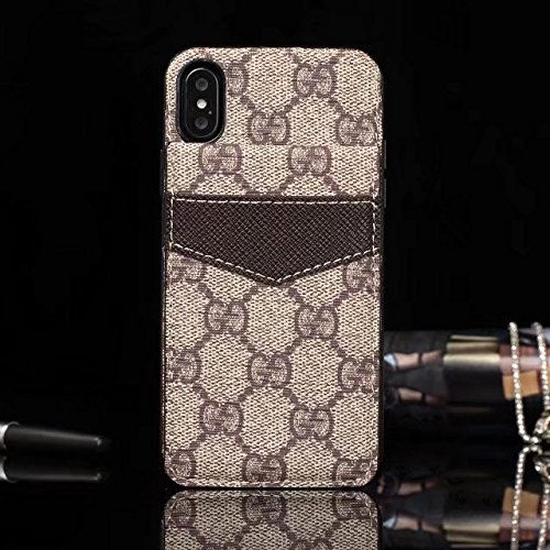 Gucci Iphone (iPhone X Case - US Fast Deliver Guarantee FBA- New Fashion Elegant Luxury PU Leather Monogram Style Cover Case For Apple iPhone X (Brown))