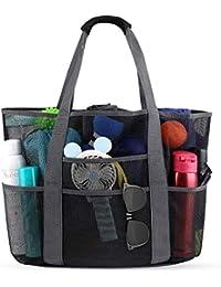 Beach Bags and Totes 35L Mesh Beach Bag with Handles Beach Towel Bag 8 Pockets