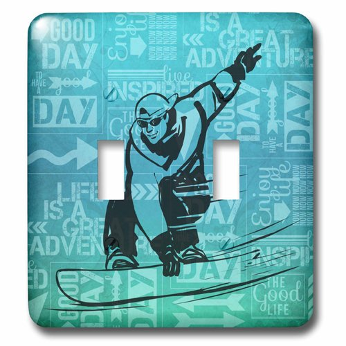 3dRose lsp/_173215/_2 Snowboarding Winter Sports Silhouette With Adventure Word Art Toggle Switch