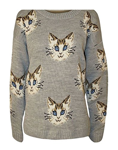 Donna Face Maglione FAIRIES Print Grey Cat Multi FASHION 6BHFxqwE