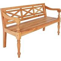 vidaXL Solid Mahogany Wood Batavia Bench Indoor 3 Person Armchair Backyard Lounge Seating 136cm Home Furniture Light…