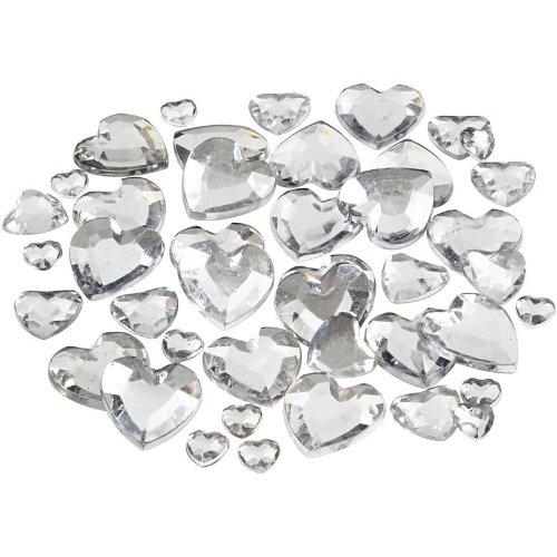 Silver 14 Mm Heart - Rhinstone, 6+10+14 mm, silver, hearts, 252 asstd