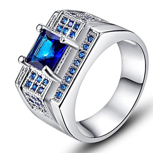 (Narica Women's Elegant 6mmx6mm Princess Cut Sapphire Quartz CZ Engagement Ring Band)