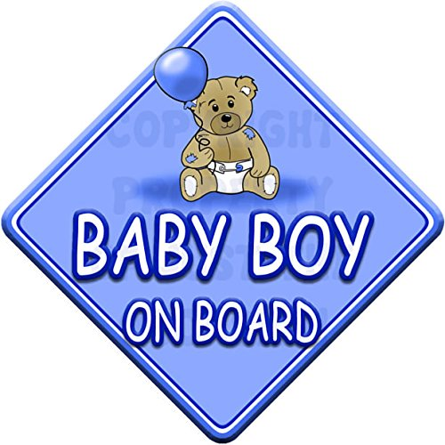 TED BALL * BABY BOY ON BOARD * car window sign Just The Occasion
