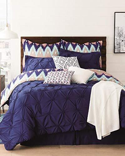 Aztec 10 Piece Comforter Set, Navy, Queen (Queen)