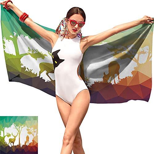 Gabriesl Africa Quick Dry Beach Towel,Fractal Deer Family Geometric Cut Shapes Hunt Adventure Themed Desert Eco Graphic Multicolor,Summer Beach Towel W31 x L63