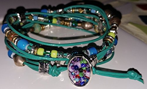 Women's original design 3 wrap sectioned ankle or wrist bracele: teal, blue, green accents and african heishi and bicones Ankle Accent