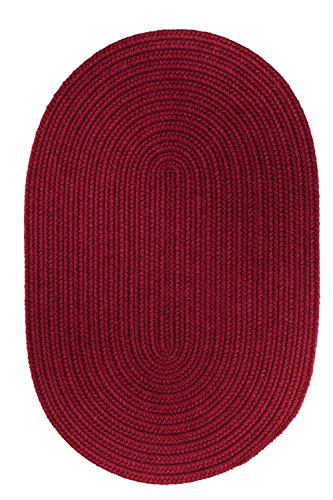 picture of Rhody Rug Solid Round Wool Rug, 6-Feet, Red Wine