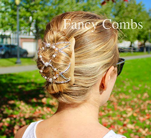 FANCY COMBS Hair Accessory Clips for Women Any Hair Type - French Twist Holder, Bun Maker, Ponytail - Decorative Hair Combs with Interlocking System Hold Hair All Day (Large, Infinity Beige)