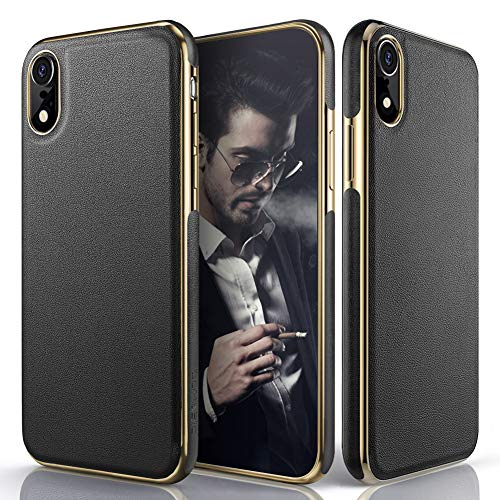 LOHASIC Leather Case for iPhone XR, Luxury Slim Fit Flexible Soft Full Body Grip Hybrid Bumper Shockproof Protective Cover Cases Compatible with Apple iPhone XR (2018) 6.1 inch - Black