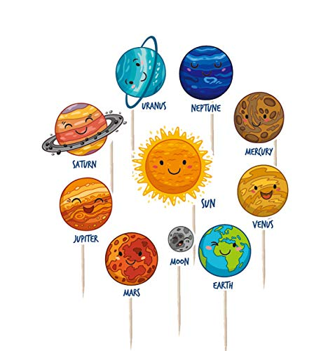 iMagitek 30 Pcs Solar System Outer Space Universe Cupcake Toppers Picks for Kids Solar System Birthday Party, Space Themed Party