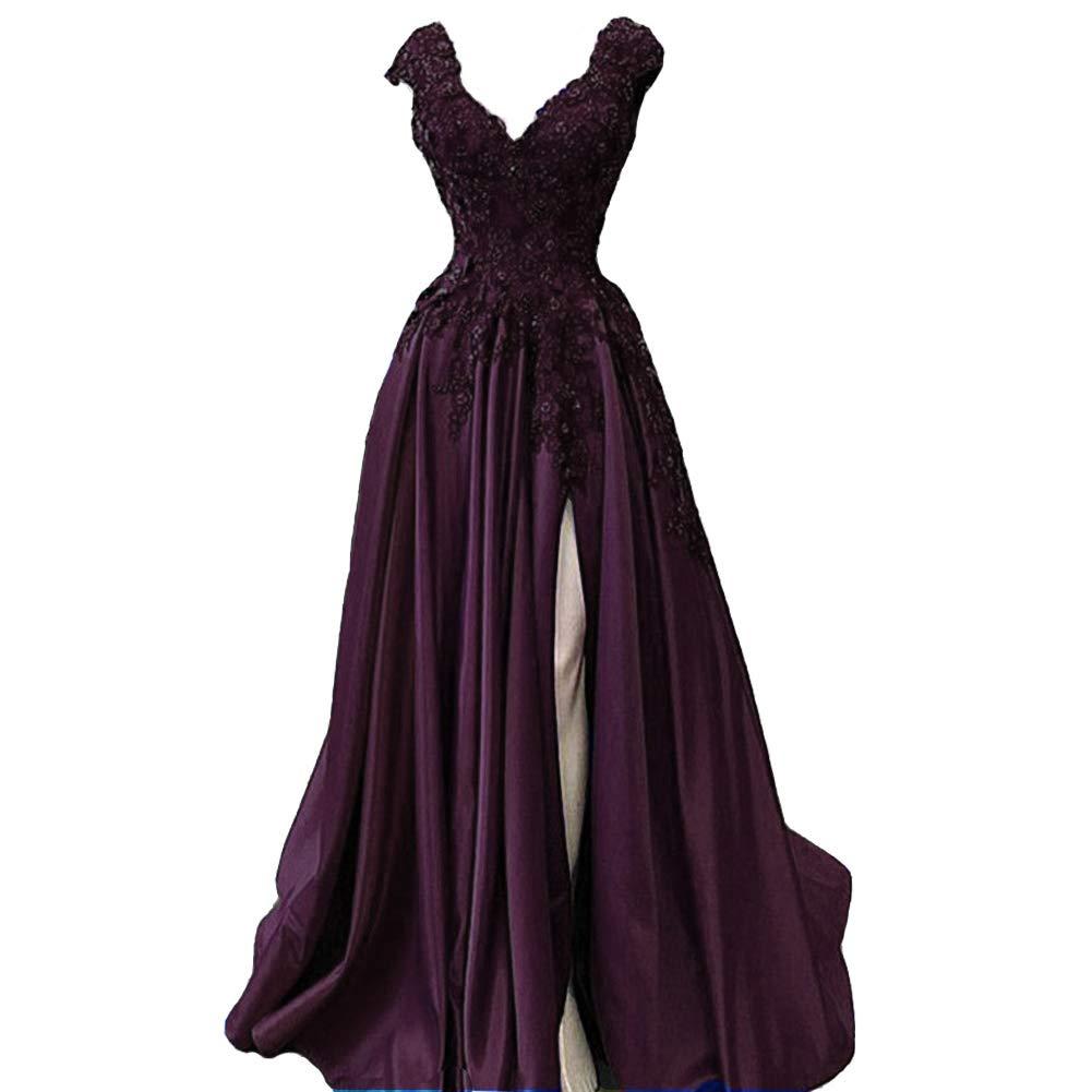 Dark Plum Lemai V Neck Beaded Lace Appliques Front Slit Long Formal Prom Evening Dresses