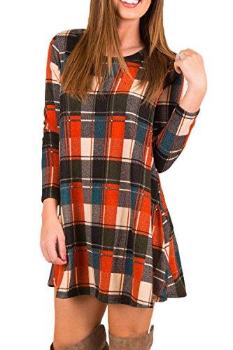 Boosouly Juniors Autumn Striped Color Block Long Sleeve Pocket Shift A Line Dress Orange L