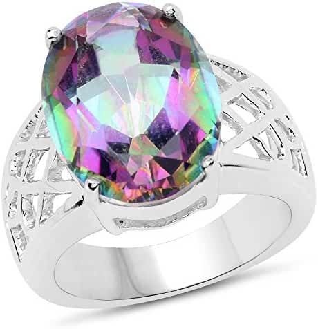 Genuine Mystic Quartz .925 Sterling Silver Ring, Size 7