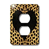 3dRose LLC lsp_20394_6 Punk Rockabilly Cheetah Animal Print with Black Heart 2-Plug Outlet Cover