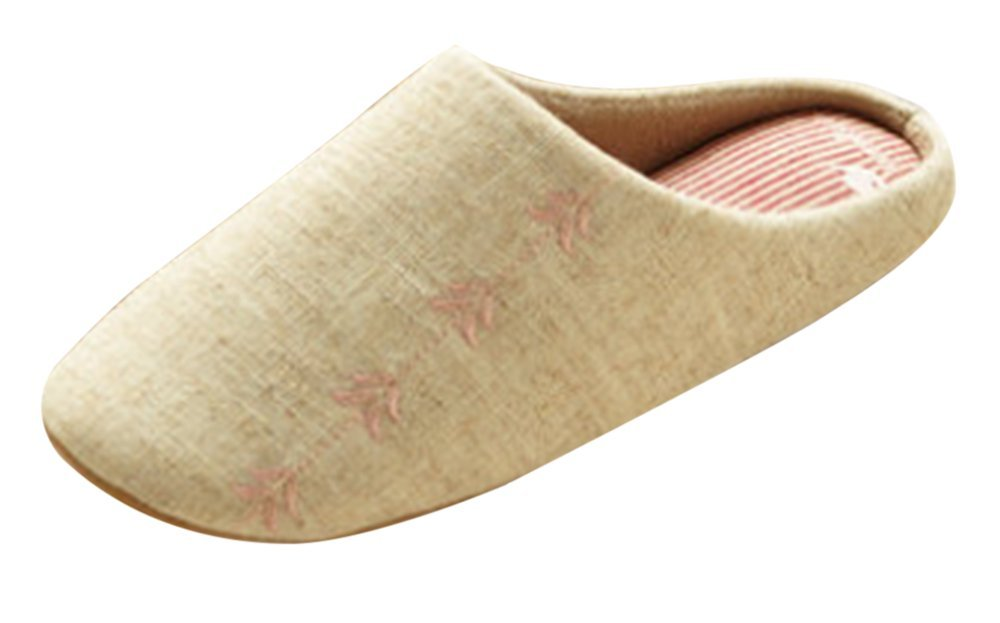 KISS GOLD(TM) Plain Coloured Linen Embroidered House Slippers,Size 5.0-6.5,Pink