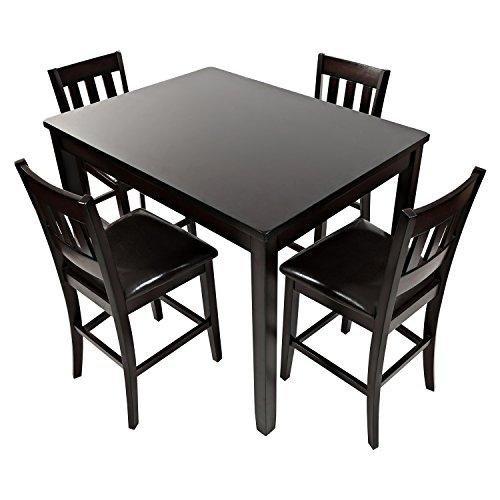 Dark Rustic Prairie 5 Pieces Counter Height Dining Set - Dark Brown