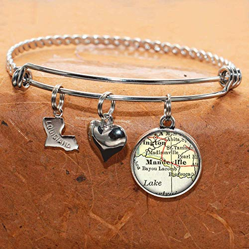 Louisiana Map Bracelet Mandeville LA USA States Cities Towns Vintage Map Jewelry and Gifts -