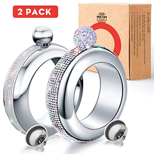 BOKIN Bracelet Bangle Flask 304 Stainless Steel Wine/Alcohol Wrist Flasket with Handmade Rhinestone Lid, Funnel in Gift Box For Women Girls Dance Birthday Party Club Bar 3.5oz 2 Pack (AB Silver)