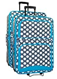 Ever Moda Polka Dot 2 Piece Luggage Set (Teal Blue)