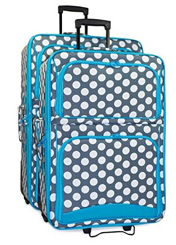 Ever Moda Polka Dot 2 Piece Luggage Set (Teal Blue) by Ever Moda