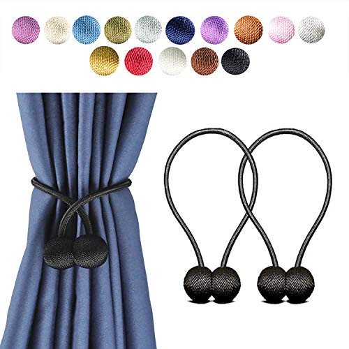 Giayouneer Curtain Tiebacks, Magnetic Curtain Buckle - 2 Pack 16 Inch Strong Magnetic Window Clips Tie Band Backs Holders, European Style Simple Modern - 1 Pairs ( Black ) ()
