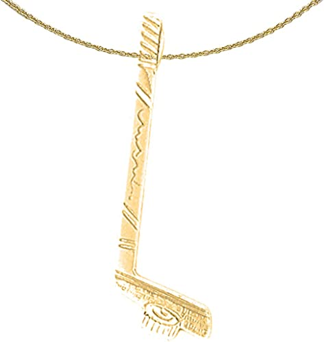 Jewels Obsession I Love Hockey Necklace 14K Yellow Gold-plated 925 Silver I Love Hockey Pendant with 18 Necklace