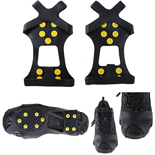 Isafish 10 Steel Studs Ice Cleats Ice & Snow Grips Over Shoe/Boot Traction Cleat Rubber Spikes Anti Easy Slip On M (Traction Studs)