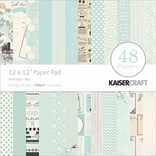 Kaisercraft Paper Pad 12 by 12-Inch, Peekaboo Boy, 48/Pack