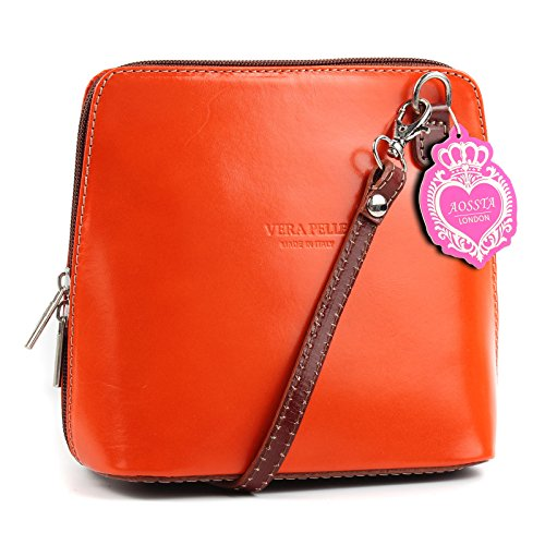 Leather Brown Aossta Small Micro Bag Bag Genuine Shoulder Body Orange Cross Italian Handbag 6qEnBE