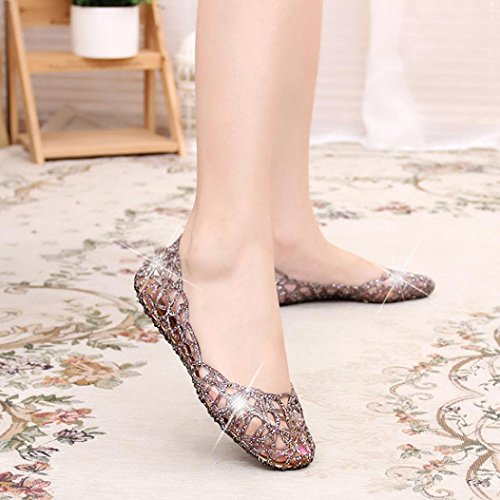 Printemps Rawdah Trou Été Âgées Brillant Noir D'été Et Femmes Élastiques Chaussures De Sandales Baotou Plates Haute Gelée Pantoufle Unique Stqvtw