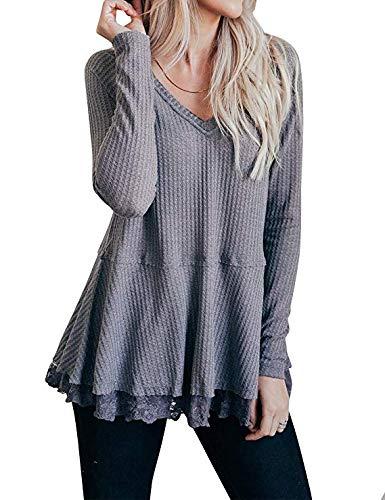 MEROKEETY Women's Long Sleeve V Neck Waffle Knit Lace Trim Flowy Tunic Tops Blouse Grey