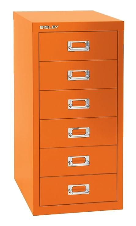 Bisley 6 Drawer Steel Multidrawer Storage Cabinet, Orange (MD6 OR)