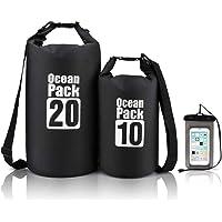 Top1Shop Waterproof Dry Bag, Set of 2, for Kayaking Beach Rafting Floating Backpack Boating with Waterproof Phone Case