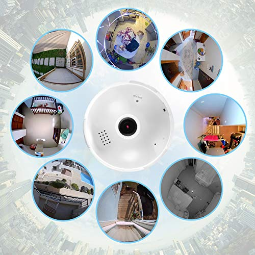 Pro HD 3MP Home WiFi Camera, 20481536 Resolution 360 Degree Panoramic Wireless Security IP Camera for Home Baby Pet Monitor Remote Viewing Camera Night Vision Motion Detection Wireless Camera 2.4GHz