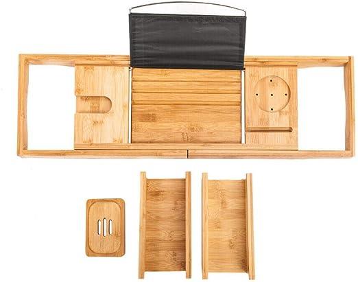 Bamboo Bathtub Shower Bath Shelf Expandable Tray Holder Soap Book Rack Organizer