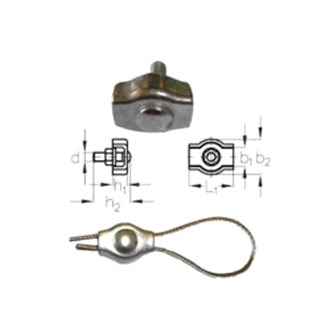 sourcingmap Simplex Acier inox seule vis Serre-c/âble Clip 50pcs 4mm C/âble M/étal