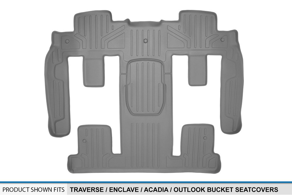 With 2nd Row Bucket Seats Acadia//Outlook Maxliner USA B2044 SMARTLINER Floor Mats 2nd and 3rd Row Liner Grey for Traverse//Enclave