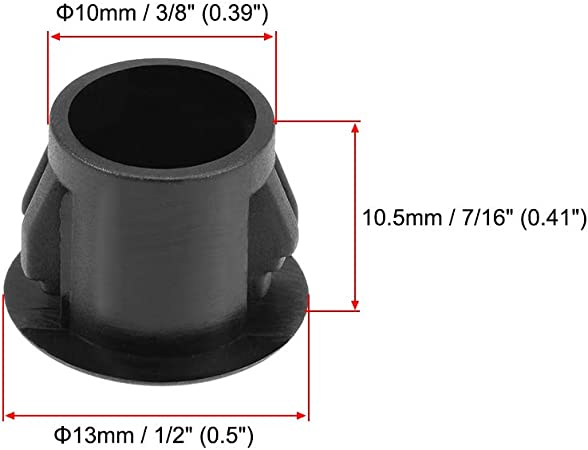 uxcell Hole Plugs Black Plastic 10mm 3//8-inch 9.5-10mm Steel Furniture Fencing Post Pipe Insert End Caps for Fitness Equipment 100 Pcs Snap in Locking Hole Tube