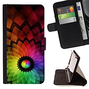 DEVIL CASE - FOR Sony Xperia Z1 Compact D5503 - Abstract Colorful Flower - Style PU Leather Case Wallet Flip Stand Flap Closure Cover