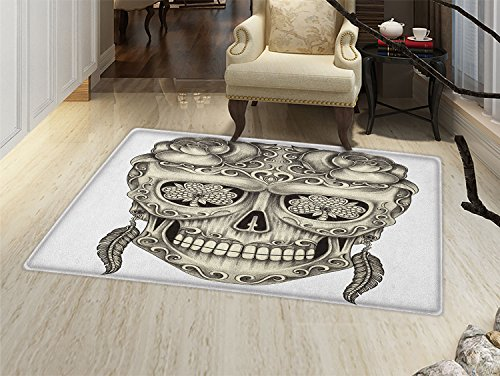 - smallbeefly Day Of The Dead Door Mat Small Rug Spanish Sugar Skull with Roses Dragonfly Eyes Feather and Earrings Artwork Bath Mat 3D Digital Printing Mat Grey Ivory