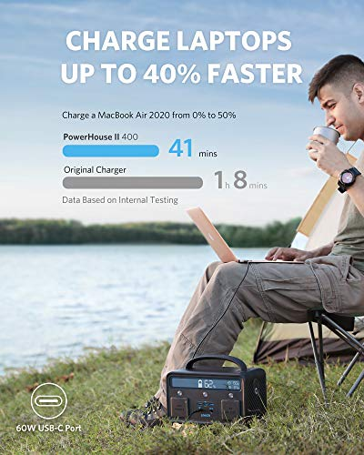 Anker PowerHouse II 400, 300W/388.8Wh Portable Power Station, 230V AC Outlet/60W USB-C Power Delivery Portable Generator… Health and Household camera