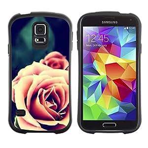 LASTONE PHONE CASE / Suave Silicona Caso Carcasa de Caucho Funda para Samsung Galaxy S5 SM-G900 / Pink Orange Close-Up Blossom