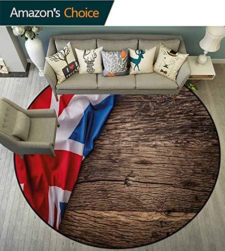 (RUGSMAT Union Jack Modern Machine Round Bath Mat,Flag of United Kingdom On Old Oak Wooden Board English Nation Country Britain Non-Slip No-Shedding Kitchen Soft Floor Mat,Round-59 Inch)