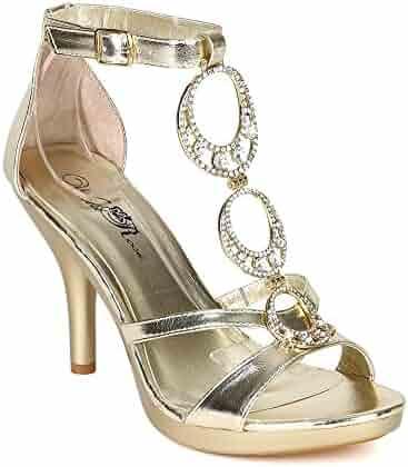 b7f7671eea1d Wild Rose Women Metallic Leatherette Open Toe Jewel Stiletto Heel Sandal  BH13 - Light Gold