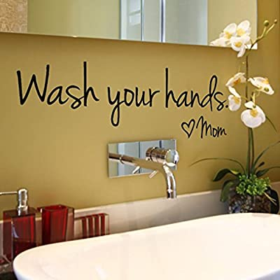 Sothread Wash Your Hands Love Mom Quote Bathroom Wall Stickers Waterproof Art Vinyl Decal Bathroom Wall Decor Black: Clothing