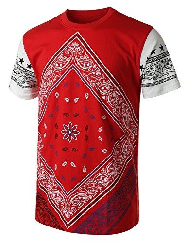 URBANCREWS Mens Hipster Hip Hop Paisley Crewneck Graphic T-shirt RED SMALL