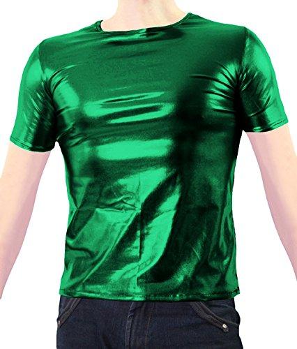 VSVO Adult Green Metallic Wet Look T-Shirts (Small, Green) (Sexy Gay Halloween Costumes)